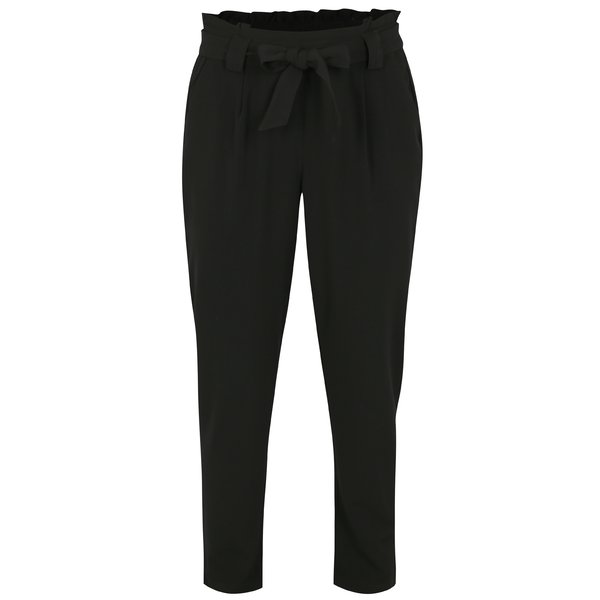 Pantaloni negri cu talie inalta si funda – Jacqueline de Yong Dakota