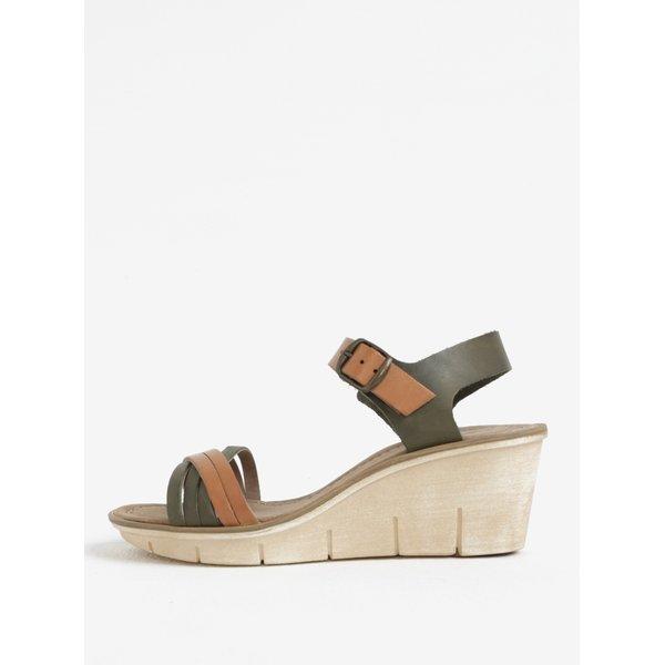 Sandale kaki cu maro din piele cu talpa wedge Weinbrenner