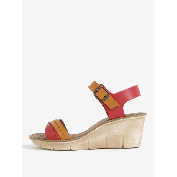 Sandale rosu cu portocaliu din piele cu talpa wedge Weinbrenner