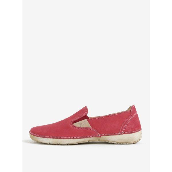 Pantofi slip on rosii din piele Weinbrenner