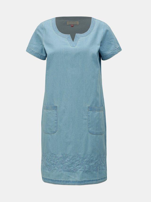 fda4b8227177 Tmavomodré kvetované šaty s volánom a prestrihom v dekolte Lena Criveanu