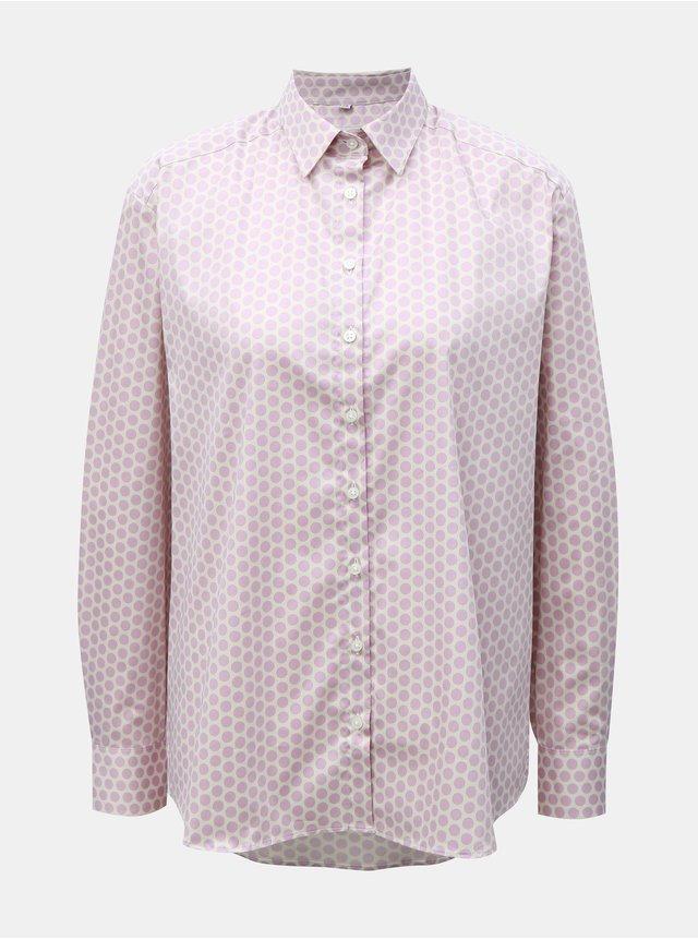 3d156b559e8f Ružová košeľa s koženkovým golierom VERO MODA Lola