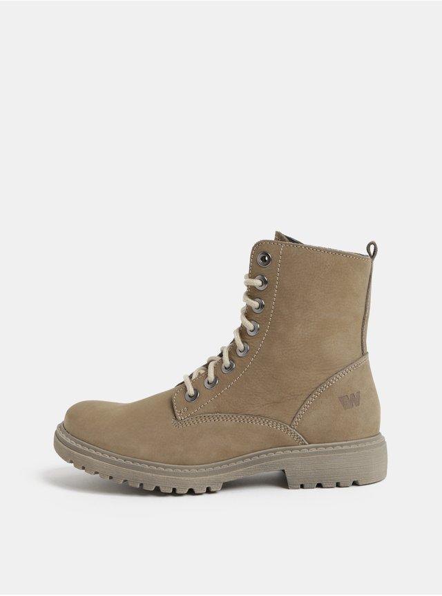 Béžové kožené kotníkové chelsea boty na klínku Tamaris  906e704b45