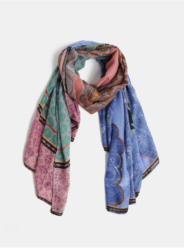 Meruňkovo-modrý vzorovaný šátek Pieces Himpy  70dc7a0ac5