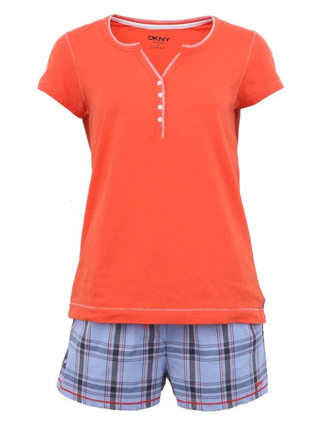 Pijamale portocalii cu sort in carouri de la DKNY