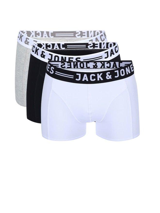 Set de trei perechi de boxeri negru, alb si gri - Jack amp; Jones Sense