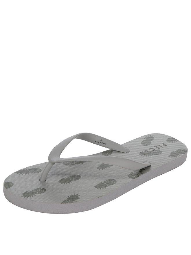 Papuci flip flop kaki cu print ananas Pieces Vera