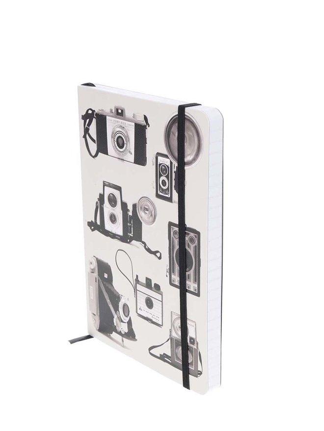Caiet negru&gri cu imprimeu aparate foto Galison