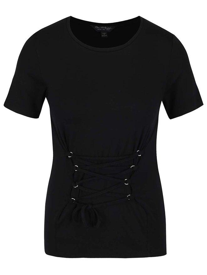 Tricou negru cu siret decorativ Miss Selfridge