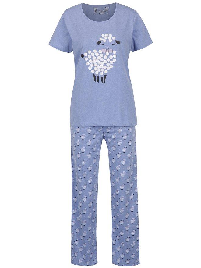 Pijama bleu cu maneca scurta si pantaloni lungi - M&Co