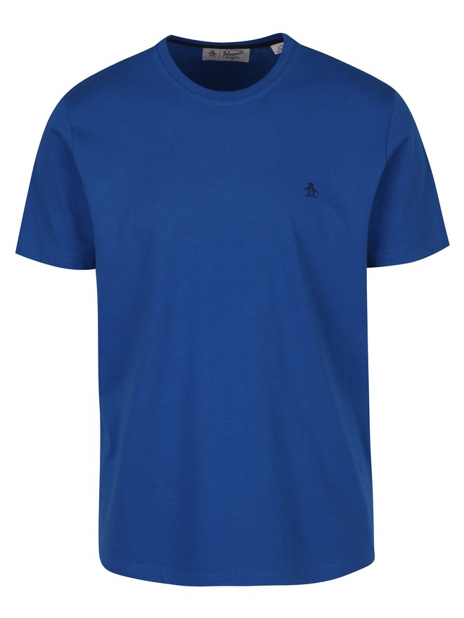 Tricou albastru cu logo brodat Original Penguin Pin Point Embroidery