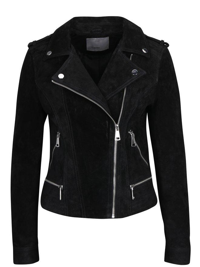 Jacheta biker neagra din piele intoarsa - VERO MODA Royce