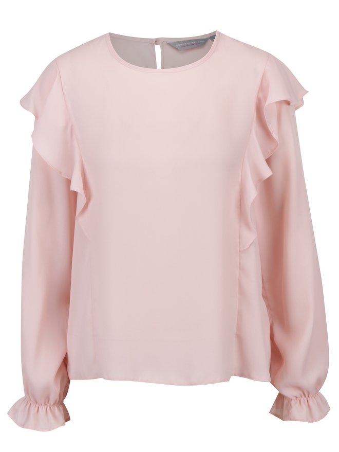 Bluza roz pal cu volane Dorothy Perkins Petite