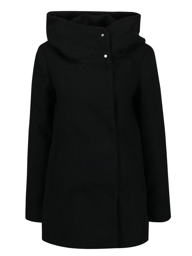 Palton negru din amestec de lana cu gluga pentru toamna / iarna - VERO MODA