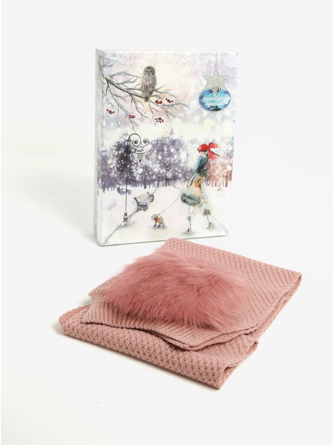 Fular tricotat roz cu buzunare din blana artificiala Something Special