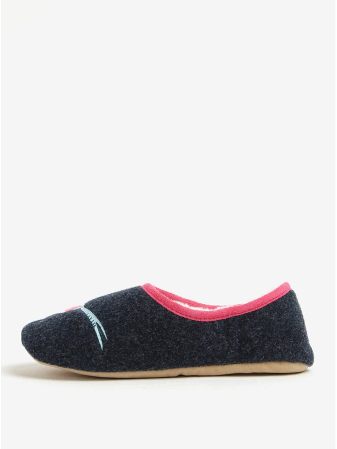Papuci de casa bleumarin cu broderie si blana - Tom Joule