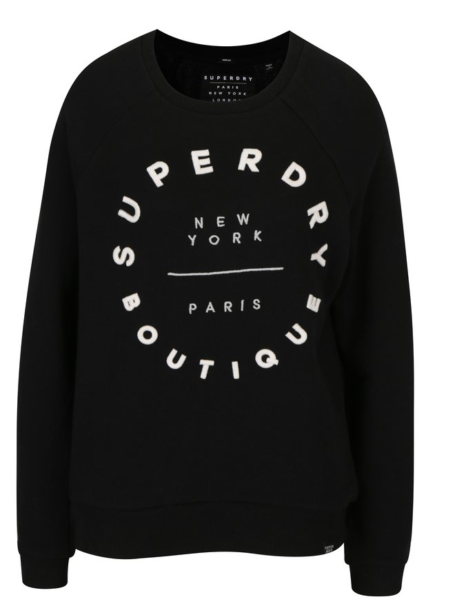 Bluza neagra cu broderie pentru femei - Superdry Applique