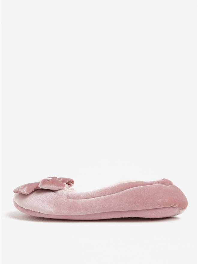 Papuci roz de casa catifelati si imblaniti Dorothy Perkins