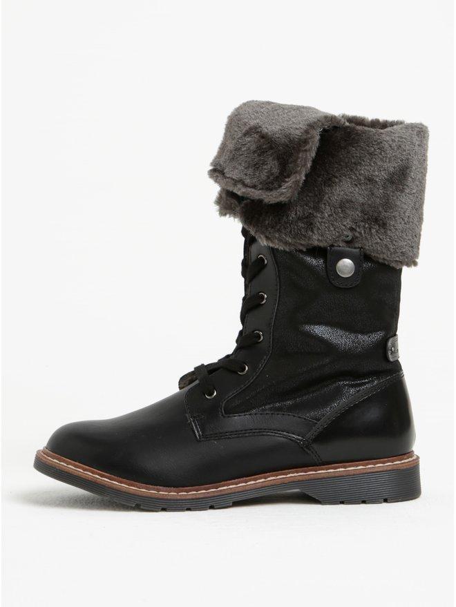 Ghete inalte de iarna negre cu blana artificiala pentru femei - s.Oliver