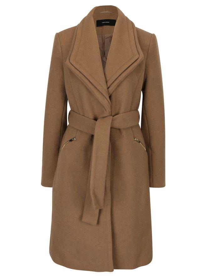 Palton maro din amestec de lana cu revere duble - VERO MODA Pisa