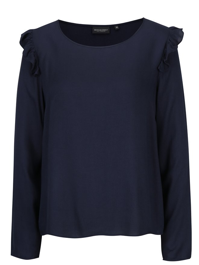 Bluza bleumarin cu volane pe umeri pentru femei - Broadway Orla