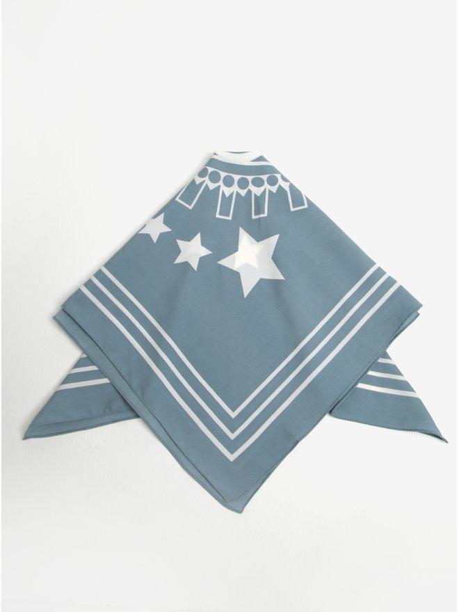 Esarfa albastru petrol&alb cu motiv stele Pieces Rachel