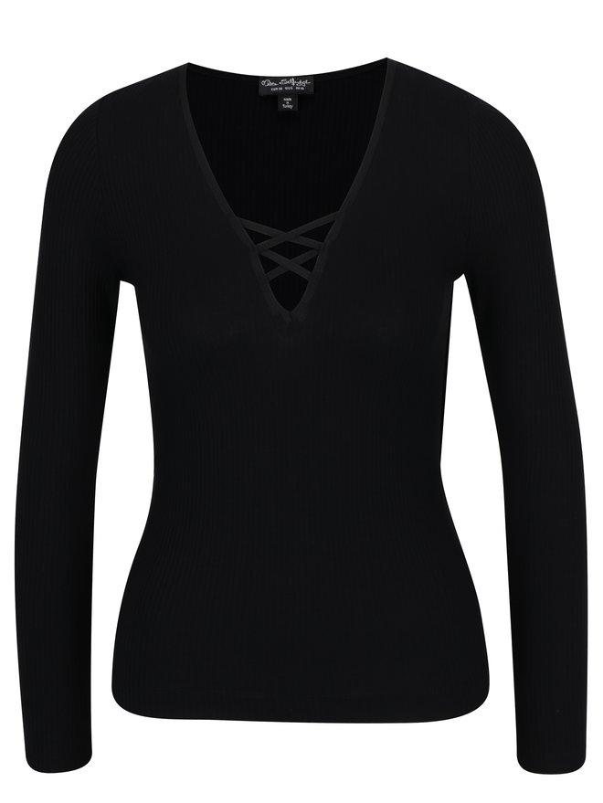 Bluza neagra cu dungi in relief si barete incrucisate Miss Selfridge
