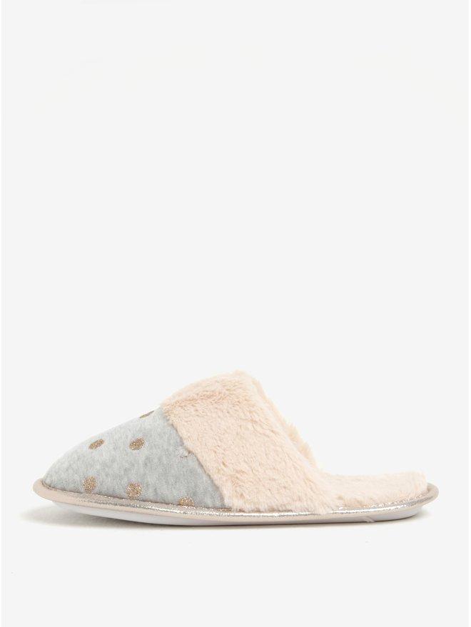 Papuci de casa gri cu blanita artificiala si buline - Dorothy Perkins