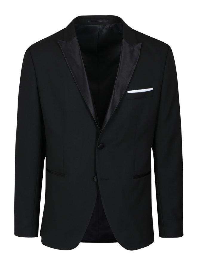 Sacou negru cu revere satinate si batista- Selected Homme Done Tux