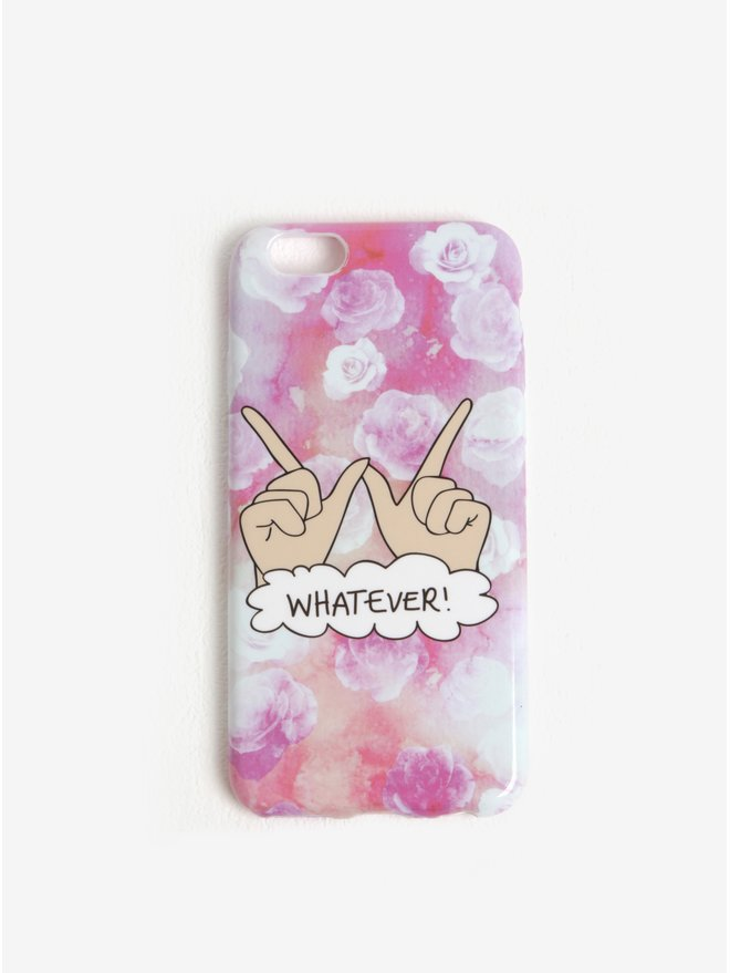 Husa roz cu print floral si mesaj pentru iPhone 6/6S