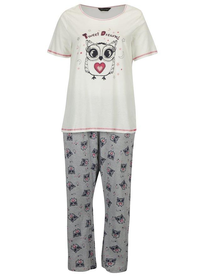 Pijama gri&crem cu print - Dorothy Perkins Curve