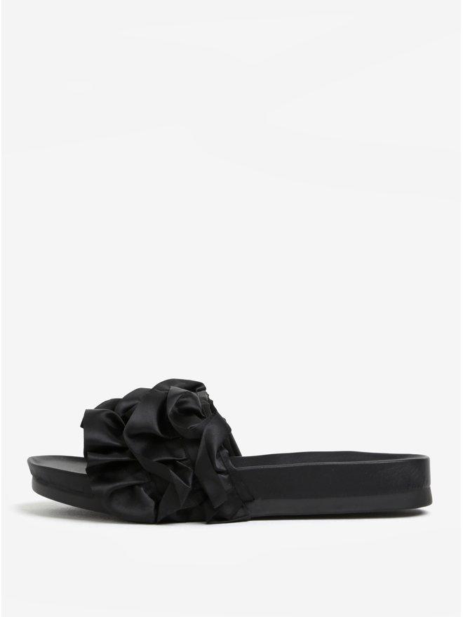 Papuci negri cu platforma si volane decorative - Miss KG Ruffle