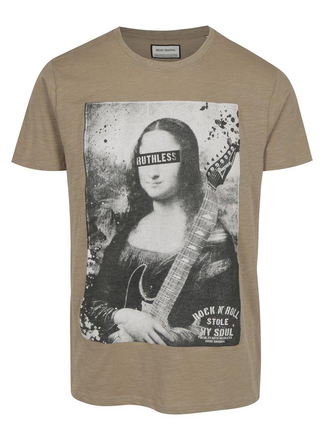 Tricou bej cu print Mona Lisa - Shine Original Rebel
