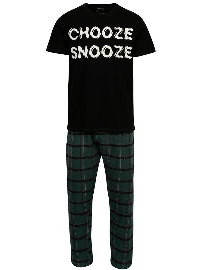Pijama negru cu verde cu tricou si pantaloni Burton Menswear London