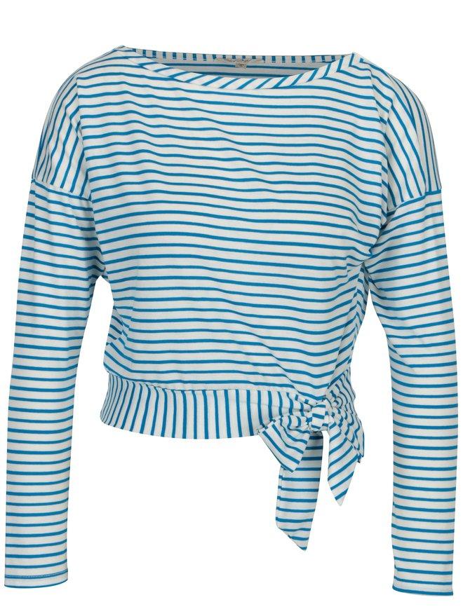 Bluza albastra in dungi cu nod decorativ Miss Selfridge