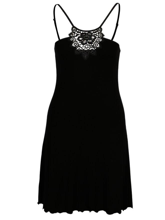 Camasa de noapte neagra cu detalii din dantela - Eldar Gaja