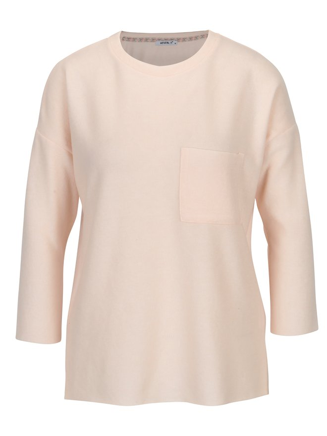 Pulover subtire roz cu buzunar si maneci 3/4- Haily´s Lena