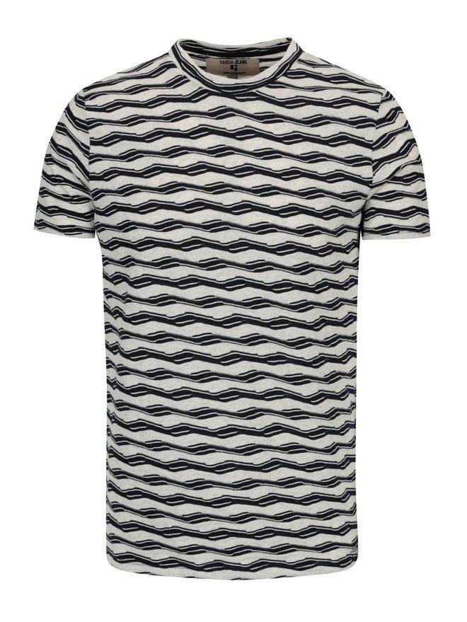 Tricou crem cu forme geometrice pentru barbati - Garcia Jeans