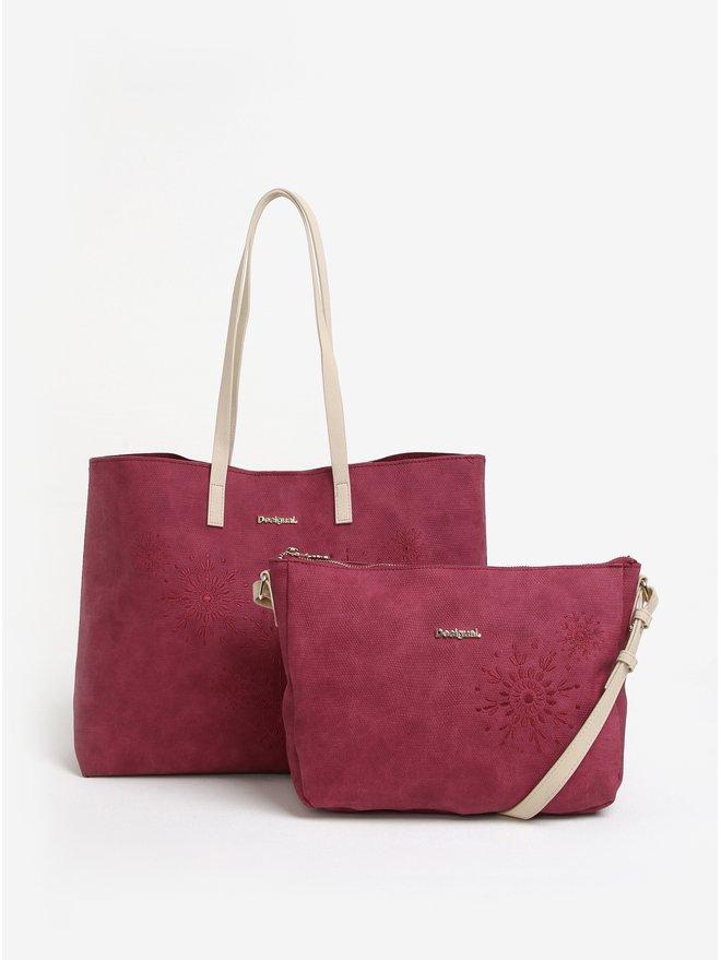 Geanta shopper cu geanta crossbody roz inchis Desigual Caliope