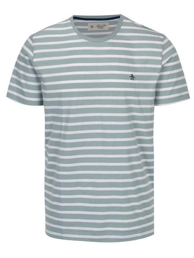 Tricou cu dungi verde albastrui & alb si logo brodat - Original Penguin