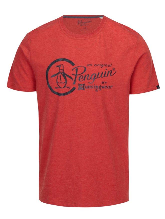 Tricou oranj cu print logo - Original Penguin