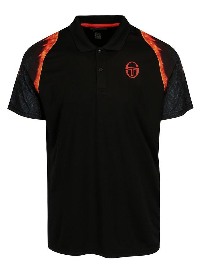 Tricou polo negru cu print si protectie solara pentru barbati - Sergio Tacchini Magma