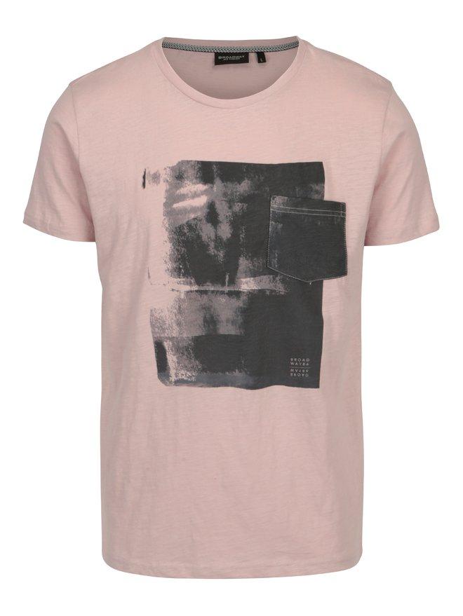 Tricou roz prafuit cu print pentru barbati Broadway Hince