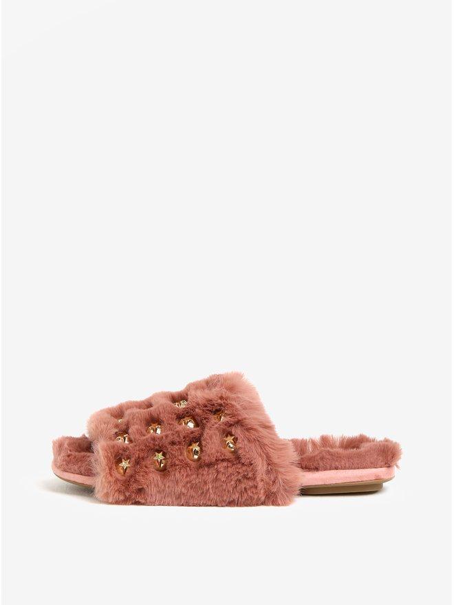 Papuci roz de blana cu stelute aurii MISSGUIDED