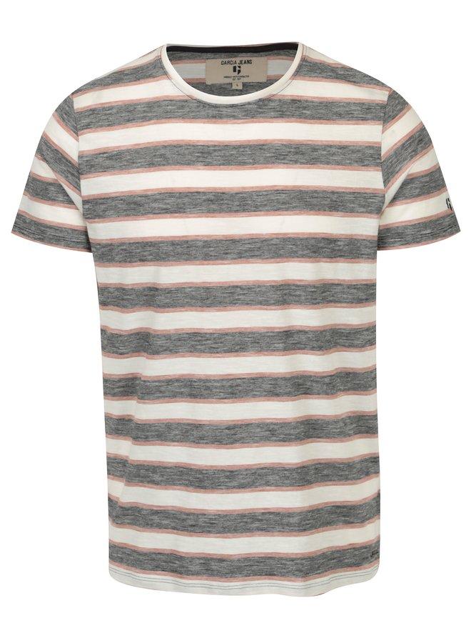 Tricou negruamp;crem in dungi pentru barbati - Garcia Jeans Heren
