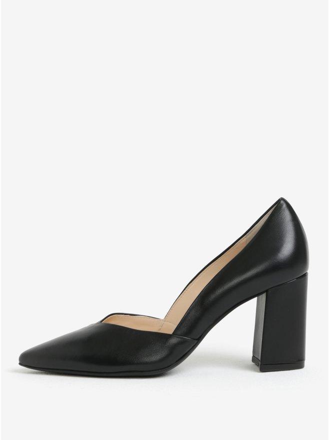 Pantofi negri de piele cu toc masiv - Houml;gl