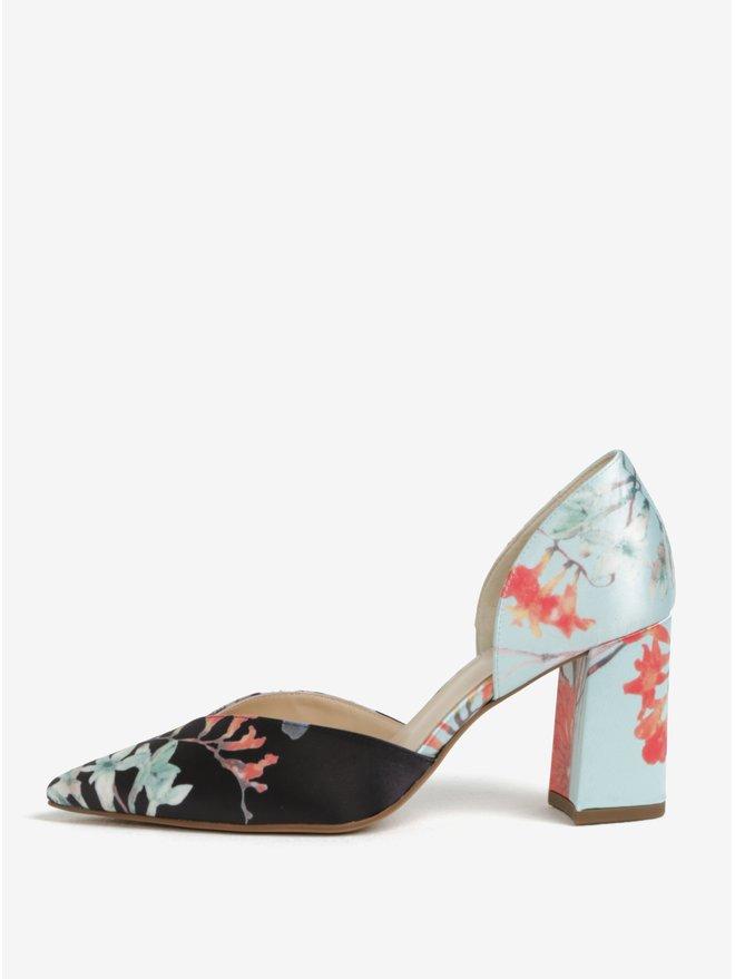 Pantofi cu print floral toc masiv si decupaje negru amp; bleu - Houml;gl