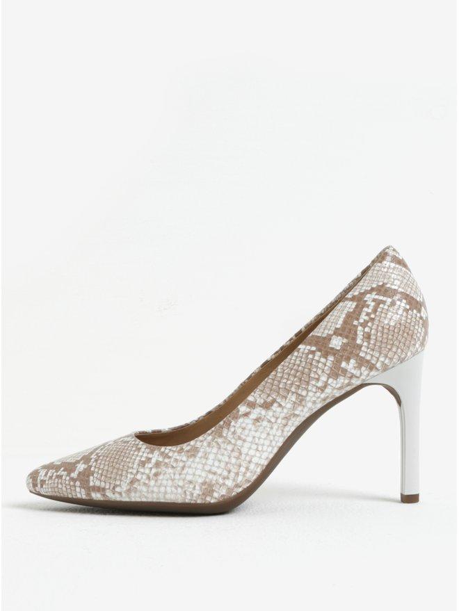 Pantofi bej cu model piele de sarpe din piele Geox Faviola