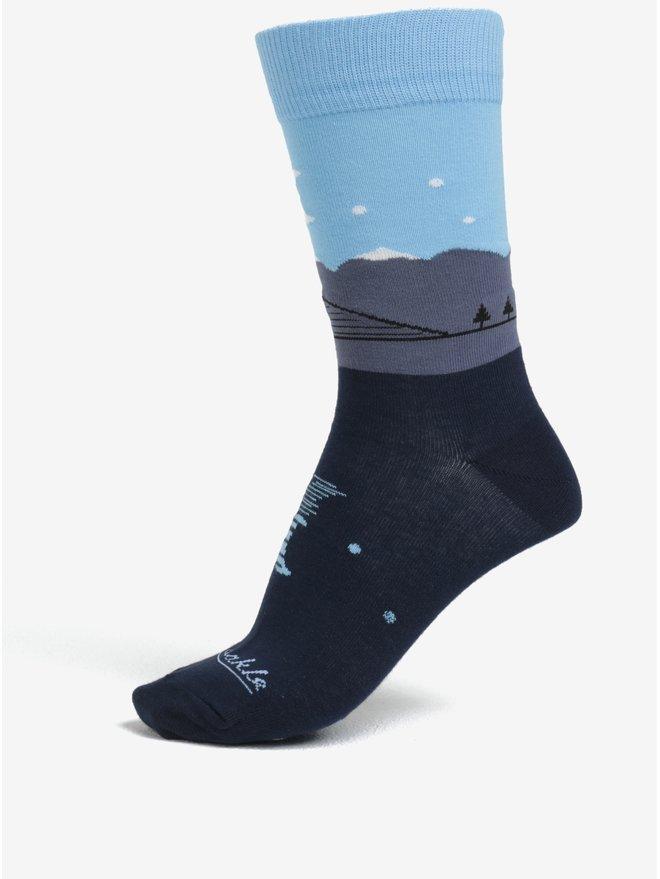 Sosete unisex albastru inchis cu model - Fusakle Štrbské pleso