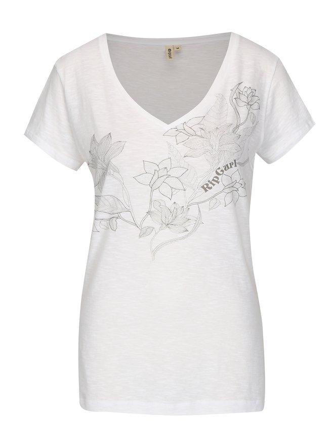 Tricou alb cu print floral Rip Curl